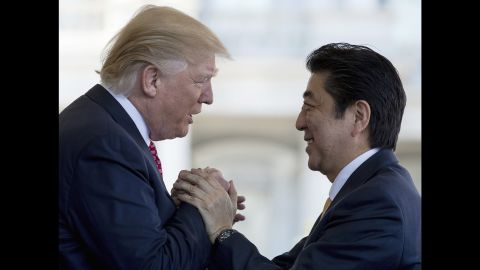 """Trump welcomes Japanese Prime Minister Shinzo Abe outside the West Wing of the White House on Friday, February 10. The two leaders <a href=""""http://www.cnn.com/2017/02/10/politics/trump-abe-press-conference/index.html"""" target=""""_blank"""">held Oval Office talks</a> and had lunch together in the State Dining Room. The next day, they traveled to Trump's Mar-a-Lago resort and played golf together."""