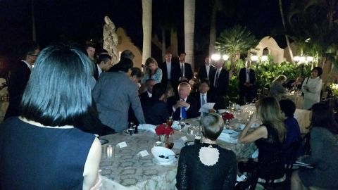 """Trump and Abe were dining at Mar-a-Lago on Saturday, February 11, when they got the call that North Korea had launched an intermediate-range ballistic missile. They gathered their teams for <a href=""""http://www.cnn.com/2017/02/12/politics/trump-shinzo-abe-mar-a-lago-north-korea/"""" target=""""_blank"""">an impromptu strategy session</a> that could be seen by other diners at the resort. This photo was posted by a Mar-a-Lago member on Facebook and quickly spread on the Internet."""