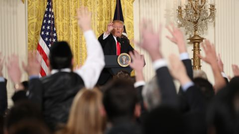 """Trump speaks during a news conference in the East Room of the White House on Thursday, February 16. The President <a href=""""http://www.cnn.com/2017/02/16/politics/donald-trump-press-conference-amazing-day-in-history/index.html"""" target=""""_blank"""">lashed out</a> against the media and what he called fake news as he displayed a sense of anger and grievance rarely vented by a president in public. He said he resented reports that his White House was in chaos. """"This administration is running like a fine-tuned machine,"""" he said."""