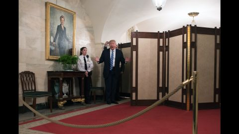 """Trump <a href=""""http://www.cnn.com/2017/03/07/politics/trump-white-house-tour-surprise/"""" target=""""_blank"""">surprises visitors</a> who were touring the White House on Tuesday, March 7. The tour group, including many young children, cheered and screamed after the President popped out from behind a room divider."""