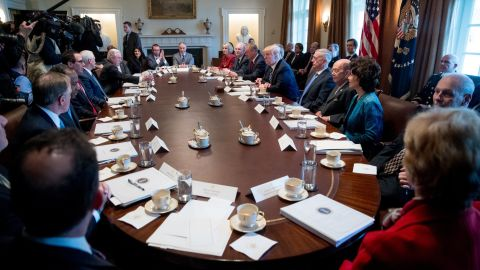 """Trump speaks Monday, March 13, during the first meeting with his Cabinet. <a href=""""http://www.cnn.com/2017/03/13/politics/donald-trump-obamacare-repeal-gop-plan/"""" target=""""_blank"""">Who's who on Trump's Cabinet? See the full list here</a>"""