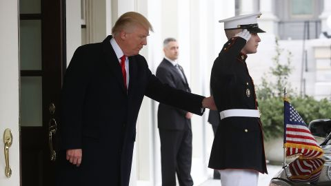 Trump waits at the White House before greeting Iraqi Prime Minister Haider al-Abadi on Monday, March 20.