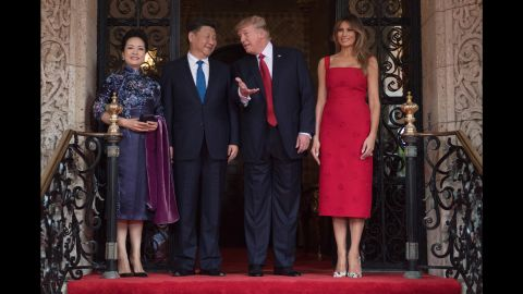 """Trump and Chinese President Xi Jinping are accompanied by first ladies Melania Trump and Peng Liyuan as they talk at the Mar-a-Lago resort in Florida on April 6. <a href=""""http://www.cnn.com/2017/04/06/politics/donald-trump-xi-jinping-china-mar-a-lago/"""" target=""""_blank"""">During Xi's visit,</a> the trade relationship between China and the United States was at the top of the agenda, as was the rising threat of North Korea's nuclear program."""