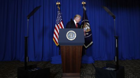 """Trump walks away from the lectern after <a href=""""http://www.cnn.com/2017/04/06/politics/donald-trump-syria-military/"""" target=""""_blank"""">announcing the missile strike in Syria</a> on April 6. """"It is in this vital national security of the United States to prevent and deter the spread and use of deadly chemical weapons,"""" Trump said."""