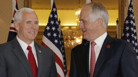 US Vice President Mike Pence (L) meets with Australia's Prime Minister Malcolm Turnbull  in Sydney on Saturday.