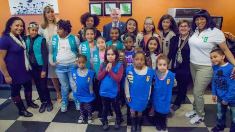 In March, elected officials and community leaders visit Girl Scout Troop 6000.