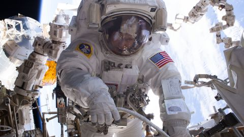 NASA astronaut Peggy Whitson works outside the international space station during a spacewalk in January 2017.