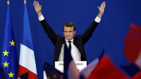 Macron was in jubilant mood after winning the first round of voting.
