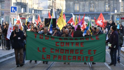 A demonstration against unemployment in Bordeaux.