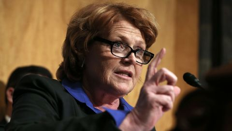 WASHINGTON, DC - MARCH 21:  U.S. Sen. Heidi Heitkamp (D-ND) speaks during a hearing before the Senate Homeland Security and Governmental Affairs Committee March 21, 2013 on Capitol Hill in Washington, DC. (Photo by Alex Wong/Getty Images)