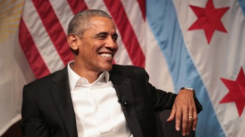 Former President Barack Obama makes his first public remarks since leaving office. Suit. No tie.