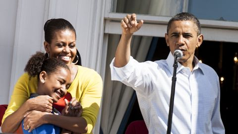 Here's Obama during the 2012 White House Easter Egg Roll.