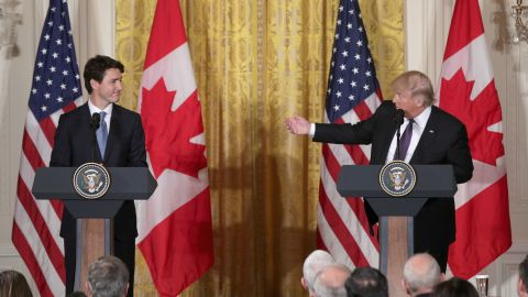 WASHINGTON, DC - FEBRUARY 13:  U.S. President Donald Trump (R) and Canadian Prime Minister Justin Trudeau participate in a joint news conference in the East Room of the White House on February 13, 2017 in Washington, DC. The two leaders participated in a roundtable discussion on the advancement of women entrepreneurs and business leaders.  (Photo by Alex Wong/Getty Images)
