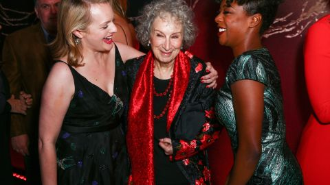 """Actor Elizabeth Moss, author Margaret Atwood and actor Samira Wiley attend the premiere of Hulu's """"The Handmaid's Tale"""" at ArcLight Cinemas Cinerama Dome on April 25, 2017 in Hollywood, California."""
