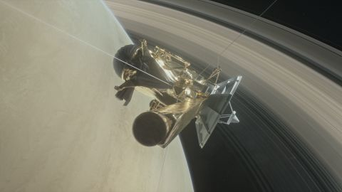 Illustration of Cassini diving between Saturn and its innermost rings as part of the mission's Grand Finale. The spacecraft will perform a series of 22 daring orbits passing through the yet unexplored region between the planet and its rings and collecting unprecedented data. Eventually Cassini will plunge and burn up into Saturn's atmosphere on 15 September 2017, satisfying planetary protection requirements to avoid possible contamination of any moons of Saturn that could have conditions suitable for life.