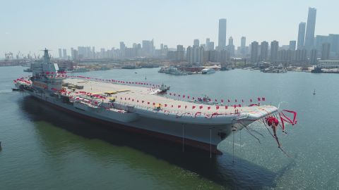 The newly-built aircraft carrier is transferred from dry dock into the water on April 26.