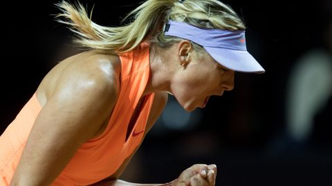 Maria Sharapova during her first match in 15 months in Stuttgart, Germany in April.
