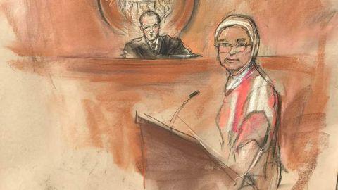 Farida Attar appears April 26 in federal court.