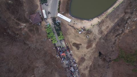 An aerial photograph shows a protest at the site of a recently installed anti Terminal High Altitude Area Defense (THAAD) system, in Seongju, South Korea, on March 18.