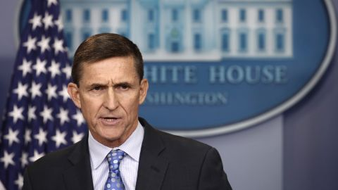 """WASHINGTON, DC - FEBRUARY 01:  National Security Adviser Michael Flynn answers questions in the briefing room of the White House February 1, 2017 in Washington, DC. Flynn said the White House is """"officially putting Iran on notice"""" for a recent missile test and support for Houthi rebels in Yemen.  (Photo by Win McNamee/Getty Images)"""