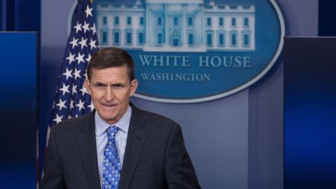 """US National Security Adviser Mike Flynn speaks during the daily press briefing at the White House in Washington, DC, on February 1, 2017. Flynn signaled a more hardline American stance on Iran Wednesday, condemning a recent missile test and declaring he was """"officially putting Iran on notice."""" / AFP / NICHOLAS KAMM        (Photo credit should read NICHOLAS KAMM/AFP/Getty Images)"""