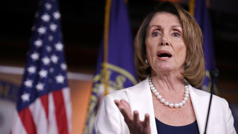 WASHINGTON, DC - APRIL 27:  House Minority Leader Nancy Pelosi (D-CA) talks to reporters during her weekly news conference at the U.S. Capitol Visitors Center April 27, 2017 in Washington, DC. Pelosi gave President Donald Trump a letter grade for his performance as he approaches his 100th day in office.  (Photo by Chip Somodevilla/Getty Images)