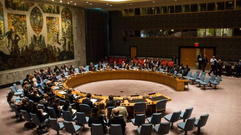 """NEW YORK, NY - AUGUST 19:  The United Nations Security Council meets on August 19, 2015 in New York City. The topic of discussion was """"The Palestinian Question,"""" and Jeffrey Feltman, Under-Secretary-General for Political Affairs, addressed the council. (Photo by Andrew Burton/Getty Images)"""