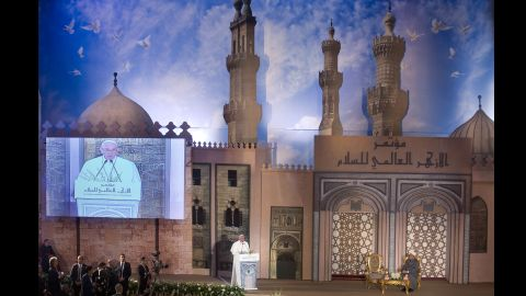 """Pope Francis addresses a peace conference at Al-Azhar, a prestigious institute of Islamic learning in the Sunni Muslim world. Francis stressed the importance of Muslim-Christian unity to shape world peace, and he emphasized the """"incompatibility of violence and faith."""""""