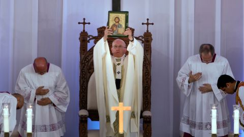 """Pope Francis <a href=""""http://www.cnn.com/2017/04/29/africa/egypt-pope-visit-saturday/"""" target=""""_blank"""">celebrates Mass</a> at the Air Defense Stadium in Cairo on Saturday."""