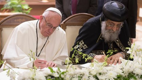 In Egypt, Pope Francis met with Pope Tawadros II, spiritual leader of Egypt's Orthodox Christians.