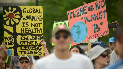 WASHINGTON, DC - APRIL 29:  People gather near the U.S. Capitol for the People's Climate Movement before marching to the White House to protest President Donald Trump's enviromental policies April 29, 2017 in Washington, DC. Demonstrators across the country are gathering to demand  a clean energy economy. (Photo by Astrid Riecken/Getty Images)