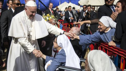 """Pope Francis visits the The Coptic Catholic College in Cairo, Egypt, on April 29. Francis made <a href=""""http://www.cnn.com/2017/04/28/africa/egypt-pope-visit/"""" target=""""_blank"""">a two-day trip to Egypt</a> to forge Muslim-Christian brotherhood and show solidarity with the country's persecuted Coptic Christian minority."""