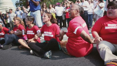 """ACORN staffer Bertha Lewis at a DC protest in """"Acorn and the Firestorm."""""""