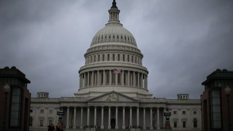 Clouds fill the sky in front of the US Capitol on October 7, 2013 in Washington, DC.