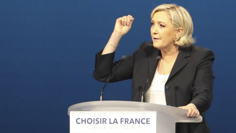 French presidential election candidate for the far-right Front National (FN) party Marine Le Pen delivers a speech during a meeting at the Parc des Expositions in Villepinte, on May 1, 2017. / AFP PHOTO / joel SAGET        (Photo credit should read JOEL SAGET/AFP/Getty Images)