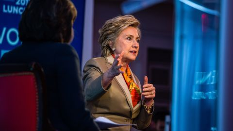 CNN chief international correspondent Christiane Amanpour moderates a discussion with former Secretary of State and 2016 US presidential candidate Hillary Clinton during the Women for Women International annual fundraising luncheon in New York on Tuesday, May 2, 2017. The not-for-profit organization enables and empowers women around the world to be involved in and play critical roles in conflict resolution, peace negotiations, humanitarian response, and in post-conflict rebuilding. It is based on the proven fact that the inclusion of women leads to a more peaceful and stable world. Photograph: Timothy Fadek