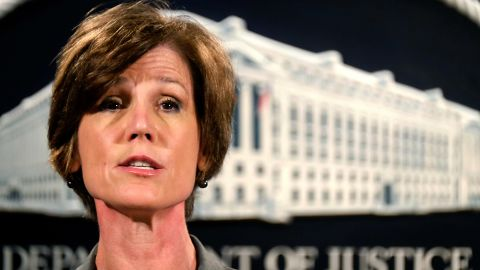 FILE - In this June 28, 2016 file photo, then-Deputy Attorney General Sally Yates speaks during a news conference at the Justice Department in Washington. Yates is scheduled to appear at a congressional hearing next month on Russian interference in the 2016 U.S. presidential election, a Senate committee announced Tuesday, April 25, 2017.  (AP Photo/J. David Ake, File)