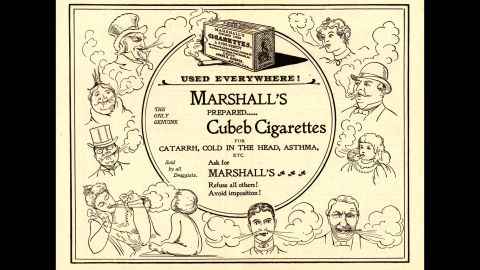 """Some cigarette companies were bold enough to state health benefits on their ads. Here, Marshall's Cubeb cigarettes claim to be a """"sure remedy"""" for asthma, nasal congestion and the common cold."""