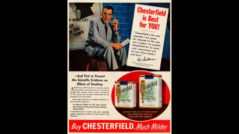 """The use of celebrities, such as this ad with TV legend Ed Sullivan, was another common tactic to earn the public's trust. Here, Sullivan says he has smoked the Chesterfield brand for 22 years. <br />Ad copy then offers some medical support: """"A medical specialist is making regular bi-monthly examinations of a group of people from various walks of life. ... No adverse effects on the nose, throat, and sinuses of the group smoking Chesterfields.""""<br />"""