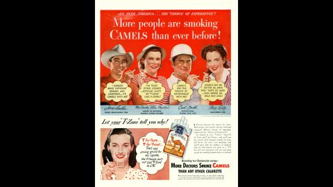 """The use of sports celebrities was also common in the early days of tobacco advertising. Here, leading names in rodeo, polo, table tennis and fishing are placed above yet another endorsement by doctors. <br /><br />""""Little protest was heard from the medical community or organized medicine,"""" SRITA said, """"perhaps because the images showed the profession in a highly favorable light.""""<br /><br />The American Medical Association did not respond to a request for comment."""