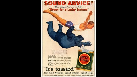 """Advertisements aimed at men often insinuated that weight loss from smoking would lead to greater athletic ability, while assuring the public that over 20,000 physicians found Lucky Strike cigarettes to be easier on the throat because they were """"toasted.""""<br /><br />""""All American grown tobacco was toasted, flue cured, and that's what made American cigarettes milder than European cigarettes,"""" says SRITA's Jackler. """"Toasting leaves  made a very soft smoke you could draw into your lungs."""""""