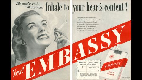 """This ad claims that the longer length of the cigarette reduces health dangers since it would take more time for the smoke to reach the smoker's lungs, allowing more filtering of toxins.<br /><br />""""In 1950, the Federal Trade Commission (FTC) investigators had decided that king-size cigarettes, like Embassy, contained 'more tobacco and therefore more harmful substances' than are found in an ordinary cigarette,"""" SRITA said."""