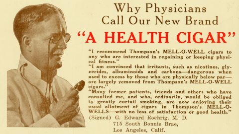"""This ad was a rare exception. Dr. G. Edward Roehrig was indeed a real doctor, practicing initially in Chicago and later in Los Angeles. """"Ironically, he died of lung cancer,"""" Jackler said. <br />"""