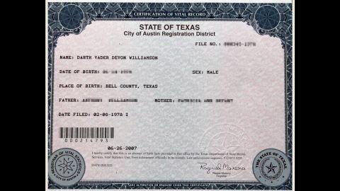 Need proof? Here's Williamson's birth certificate.