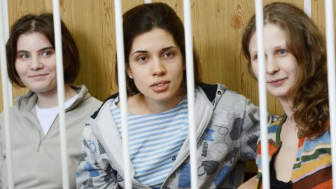 """Band members of  """"Pussy Riot"""" during a court hearing in Moscow (Nadezhda Tolokonnikova - center)"""