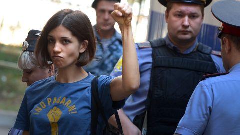 Verzilov's then-wife Nadezhda Tolokonnikova appears at a court hearing in 2012.