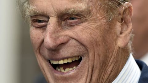 Prince Philip laughs at an event during the Commonwealth Heads of Government Meeting in Malta in 2015.