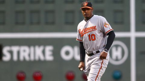 Adam Jones of the Baltimore Orioles during Monday's game against the Boston Red Sox at Fenway Park.