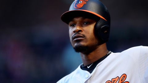 BOSTON, MA - MAY 3: Adam Jones #10 of the Baltimore Orioles looks on from the on deck circle during the first inning against the Boston Red Sox at Fenway Park on May 3, 2017 in Boston, Massachusetts. (Photo by Maddie Meyer/Getty Images)
