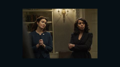 Kerry Washington stars as Olivia Pope and Bellamy Young stars as Mellie Grant.
